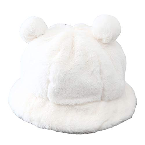 WUXIAOLINDADALA Mujer Invierno Mullido Felpa cálido Sombrero de Cubo pompón Orejas de Oso Cloche Gorra de Pescador Blanco