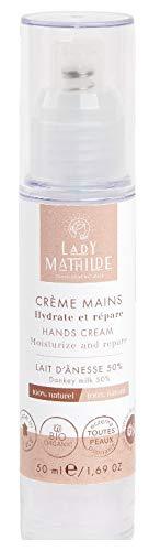 Crème pour les mains au lait d'ânesse 100% naturel, senteur naturelle, 0 CMR, 0 ALLERGENE, 0 PARABEN, 0 OGM, 0 COLORANT, Non comédogène, non testé sur les animaux, en tube airless de 50 ml