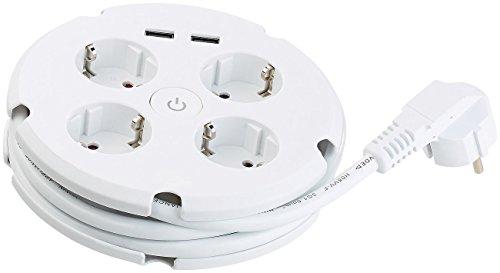 revolt Kabeltrommeln: Steckdosenleiste mit Kabeltrommel, 4 Steckdosen & 2 USB-Ports (2,1 A) (Mehrfachstecker mit langem Kabel)