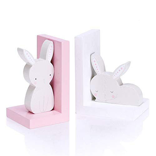jinyi Sujeta Libros Sujetalibros Bookend de Madera Creative Rabbit Desktop Books Holder Simple Sookends Creative Children's Room Book File Nonskid Wearded Creativa Sujetalibros