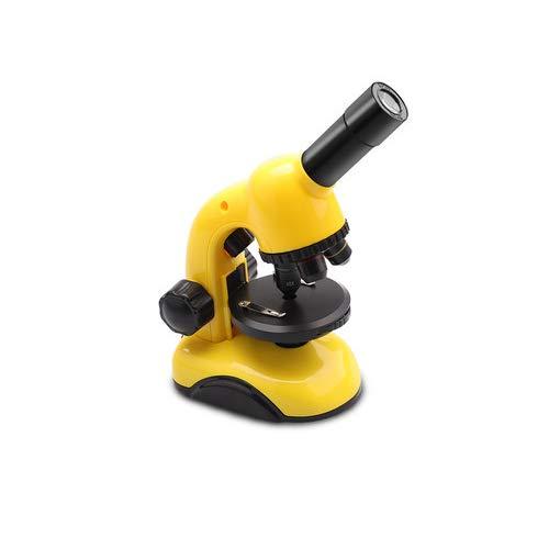 HANYF Microscopio, Compuesto Estudiante Casa De Juguete Monocular, 800 Veces De Alta Definición De Imagen/Conexión De Teléfono Móvil Material De Protección del Medio Ambiente/ABC,Amarillo
