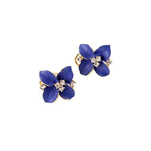 FANKUNYIZHOUSHI - Pendientes de botón para Mujer, diseño de Camelia, Color Azul