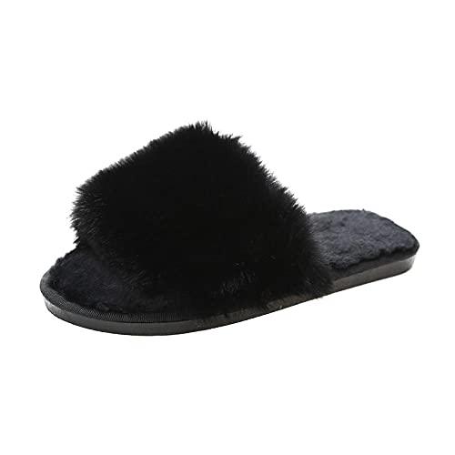 Fuduoduo Antideslizante Acogedora Zapatillas,Zapatillas de Felpa de Moda de otoño e Invierno para Mujer-Black_40-41#,Zapatillas Algodón Hotel