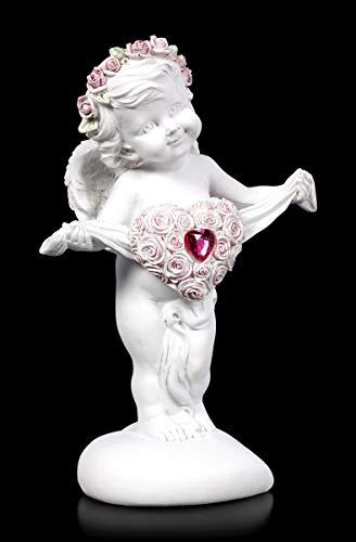 Figuren Shop GmbH Fantasy Engel-Figur - Putte mit Rosenherz | Elfe, Fee, Deko-Figur, Deko-Artikel, Skulptur, Statue, Schutz-Engel, H 17 cm