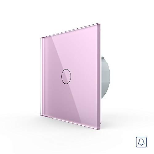 LIVOLO drukknop lichtschakelaar 1 vak TouchVL-C701B-17 roze bont roze deurbel lichtschakelaar licht schakelaar wandschakelaar een vak aan glazen frame glazen paneel