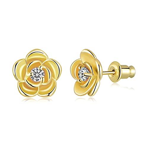 XXCHUIJU Rosa Blanco Fuego Opal Oro Amarillo Mujeres Joyería de Zircon Pendientes Pendientes (Color : Gold)