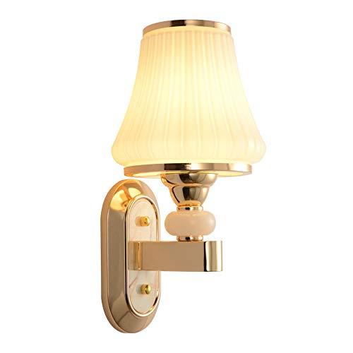 DKee Luces de pared europeas minimalista lámpara de pared de cristal 15 * 31,5 cm pasillo pasillo comedor sala dormitorio cabecera oro luz cálida