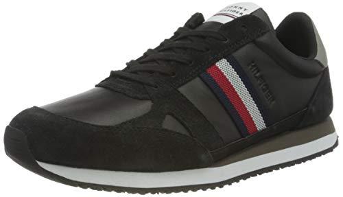 Tommy Hilfiger Runner LO Leather Stripes, Zapatillas Hombre, Black, 40.5 EU