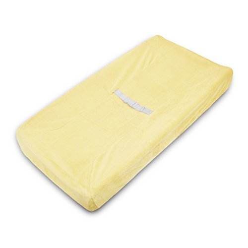 American Baby Company Heavenly Soft Chenille Fitted Contoured Changing Pad Cover, Maize, for Boys and Girls