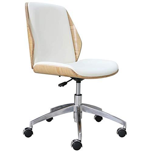Fauteuil Bureaustoel, Moderne Minimalistische Massief Houten Leren Armloze Computerstoel, Home Lift Bureaustoel Bureaustoel, Eenvoudige En Elegante Vergaderstoel (Color : White, Size : 90 * 60cm)