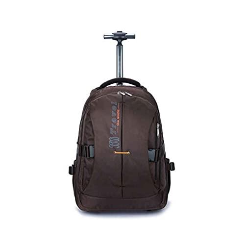 Mochila grande de viaje con ruedas para adultos, mochila con ruedas, carrito de ordenador portátil, equipaje de transporte, impermeable, bolsa de viaje de 23 pulgadas (color marrón, tamaño: grande)