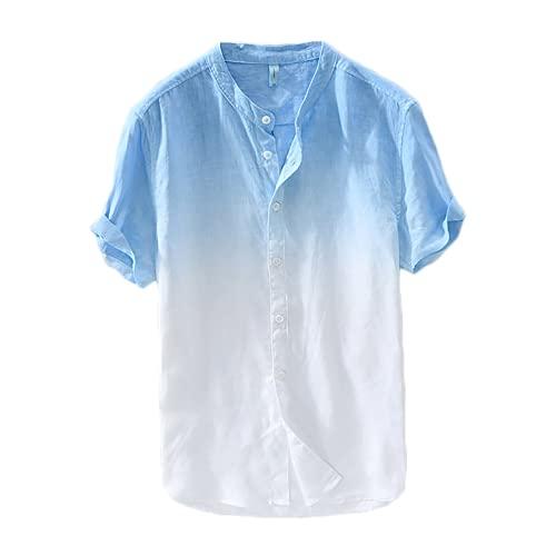 Camisas Algodón Lino Camiseta de Manga Corta Top Transpirable Gradiente Color Tie Dye Hombres Verano Casual