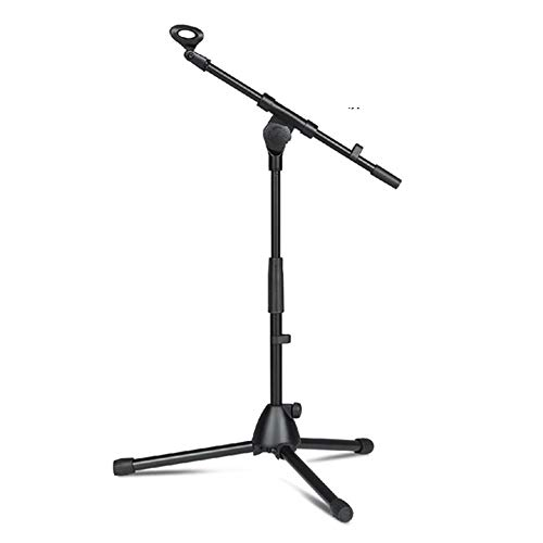 Lightweight Foldable Microphone Tripod Height Adjustable Stand & Boom Arm Mic Clips Black 层面78