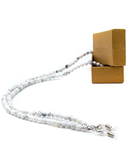 GERNEO® - 2020 Edition - Premium Brillenband & Brillenkordel Unisex für Lesebrille & Sonnenbrille - 925er versilberte Halter - Marmor Perlen - extra lang