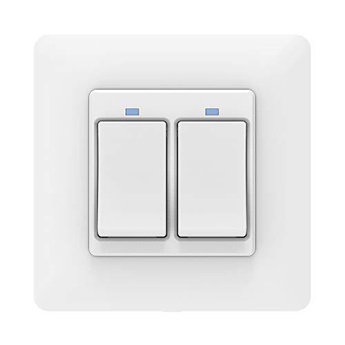 MoKo WiFi Interruptor Inteligente de Pared, WiFi 2 Vía Interruptor de Luz, Control Remoto/Voz, Funciona con Alexa, Google Home, SmartThings, Atajo de Siri, Temporizador, SOLO 2.4GHz Red - Blanco