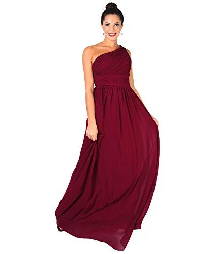 KRISP Vestido Mujer Fiesta Largo Talla Grande Hombro Descubierto Invitada Boda Dama, Burdeos (4814), 48 EU (20 UK), 4814-WIN-20