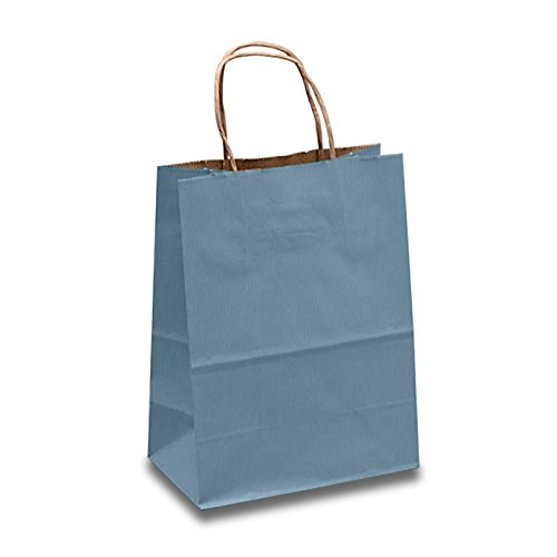 250ea - 8 X 4-3/4 X 10-1/4 Ctry Blue Shadow Stripe Hdl Bag