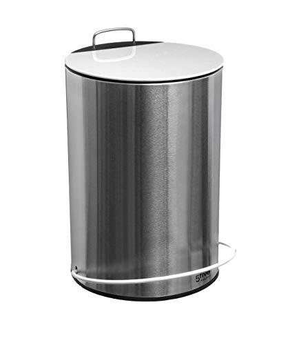Poubelle 5 litres en métal blanc - D 20,5 cm x H 32,4 cm