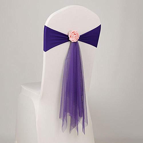 Qingsb 12 Farben Spandex Lycra Stuhl Schärpe mit Rosenkugel künstliche Blumenkugel Organza Schärpe Lycra Schärpe Stretch fit alle Stühle Hochzeit, LILA
