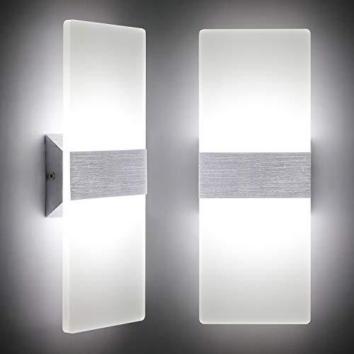 Preisvergleich Produktbild LED Wandleuchte Innen 12W Mordern Wandlampe Acryl Wandbeleuchtung Kaltweiß 6000K für Wohnzimmer Schlafzimmer Treppenhaus Flur (2 Pack)