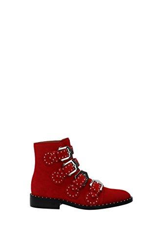 givenchy scarpe donna Givenchy Donna Stivaletto in camoscio Rosso con Cinturini e Borchie Color Rosso Size 36