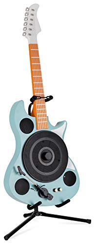 Beatfoxx GT-26 TQ Rory Plattenspieler in E-Gitarrenform - Vertikal Retro Vinyl Turntable mit Direktantrieb - Schallplattenspieler mit Bluetooth & AUX - et inkl. Gitarrenständer