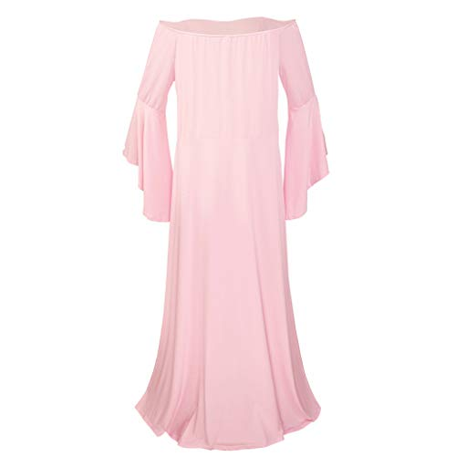 Allence - Vestido Largo para Mujer Embarazada, para fotografía o para Embarazadas, para Fiestas Rosa XXL