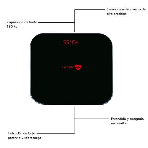 palonic bilancia da bagno Digitale di alta misurazione Precisa 5kg-180kg, bilancia Digitale bagno, automatico, bilancia Elettronica con LCD retroilluminazione, Nero