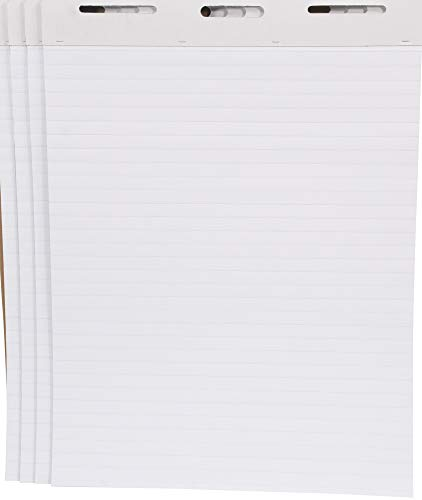 School Smart Ruled Easel Pads, 27 x 34 Inches, 50 Sheets, White, Pack of 4 - 1467043