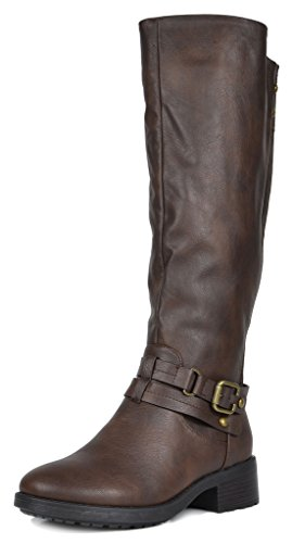 DREAM PAIRS Women's Uncle Brown Knee High Motorcycle Riding Winter Boots Size 9 M US