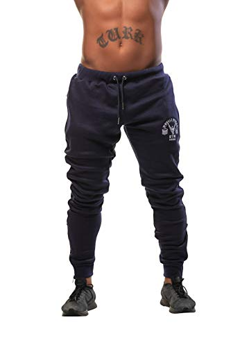 Mens Jogger Trousers,Zip Running Pants Casual Gym Fitness Bottoms Slim Fit Sweat Pants Navy (Large 32-34inchs)