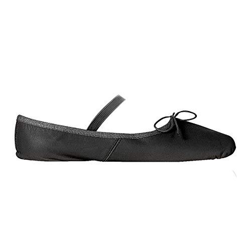 Papillon - Zapatillas de ballet para niños y adultos, con banda de goma, piel, suela dividida de ante, color Negro, talla 37 EU