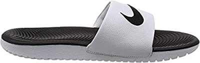 NIKE Kids' Kawa Slide Sandal, White/Black, 1 M US Little Kid
