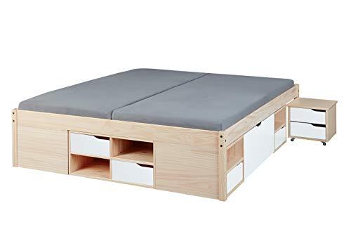 Inter Link Funktionsbett Kinderbett Gästebett 160x200 FSC Kiefer massiv Milkyskin lackiert Weiß, 209 x 166 x 48 cm