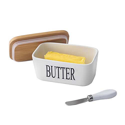 Butter Dish with Steel Knife, Porcelain