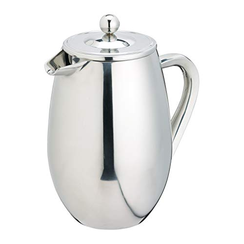 KitchenCraft Le'Xpress Stainless Steel Double Wall Insulated 3-Cup Cafetière, 350 ml