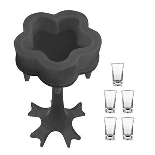 5 Shot Glass Dispenser and Holder, Dispensador para llenar líquidos, Dispensador de licor, Dispensador múltiple de 5 shots Dispensador de bebidas de cerveza para el hogargray with 5 clear shot glasses