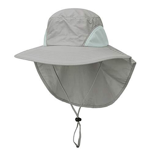 Faletony Outdoor Sonnenhut mit Nackenschutz, UV Schutz Faltbar Buschhut Boonie Hat Fischerhüte Bucket Safari Hut für Damen Herren (Lichtgrau)