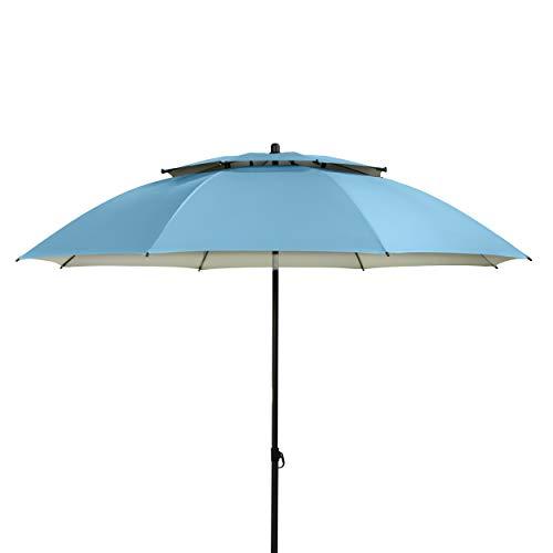 Doppler Sonnenschirm Windprofi 200 cm - Stabiler Sonnenschirm für Strand - Badeschirm - Knickbar - Regenabweisend (Blau)