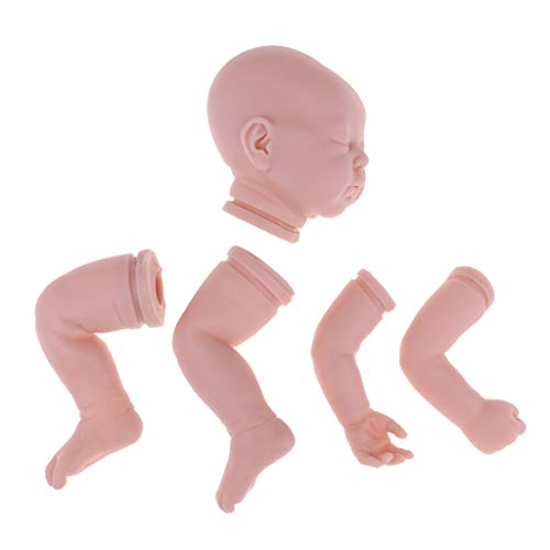 Fenteer Lebensechte DIY Unlackiert Babypuppe weichen Vinyl Neugeboren Baby Puppen Körperteile Kopf, 3/4 Arme und Volle Beine Modell Set - 19 Zoll