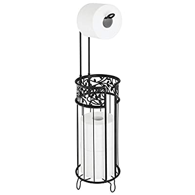 mDesign Metal Freestanding Toilet Paper Roll Holder Stand and Dispenser with Storage for 3 Rolls of Reserve Toilet Tissue - for Bathroom Storage Organizing - Holds Mega Rolls, Floral Pattern