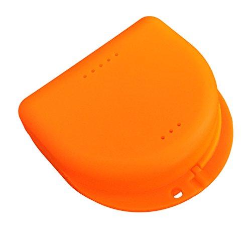 Étui de rangement pour appareil dentaire, protège-dents, gouttière anti-bruxisme, dentier, etc, simple et hygiénique (abricot translucide)
