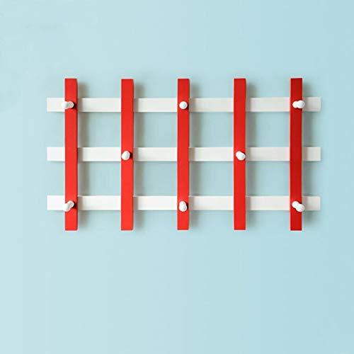Kapstok Hat sjaal wandkapstok Haken Houten Entree Slaapkamer Woonkamer hangers (Color : Red, Size : 71X39.7cm)