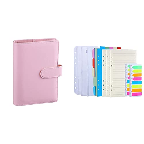 Antner A6 PU Leather Notebook Binder (Pink) Bundle   3 Pack A6 Refill Paper, 2 Pack 160pcs Neon Page Markers, 10pcs Binder Dividers, 3pcs Binder Pockets