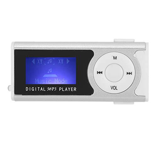 ASHATA Reproductor de música MP3, Mini Clip USB Deportivo Pantalla LCD Reproductor Multimedia portátil de 16GB Plata, Diseño de Clip Trasero Reproductor MP3 con batería de Litio Recargable de 90mAh