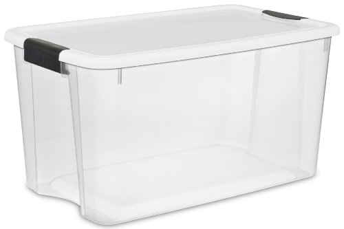 19889804 70 Quart/66 Liter Ultra Box Clear with a White Lid and Black Latches 5