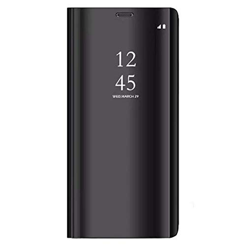 Huawei Mate 20 Clear View Specchio Standing Cover Slim Mirror Flip Custodia Bookstyle Wallet Portafoglio Elegante Smart Flip Alsoar® Mate 20 Case Ultra Slim Case per Huawei Mate 20 (Nero)