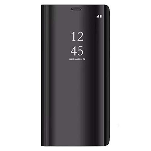 Alsoar® Coque Compatible pour Galaxy S8 Plus, Cover 360 °de Protection Intelligente Vue Claire Miroir De Electroplate Placage Kickstand Caractéristique Flip Housse pour Galaxy S8+ Plus (Noir)