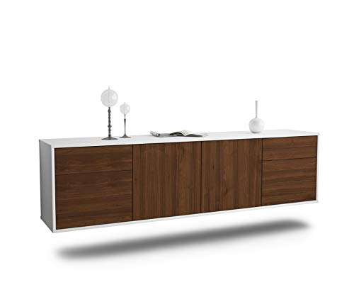 Dekati Lowboard Madison hängend (180x49x35cm) Korpus Weiss matt | Front Holz-Design Walnuss | Push-to-Open