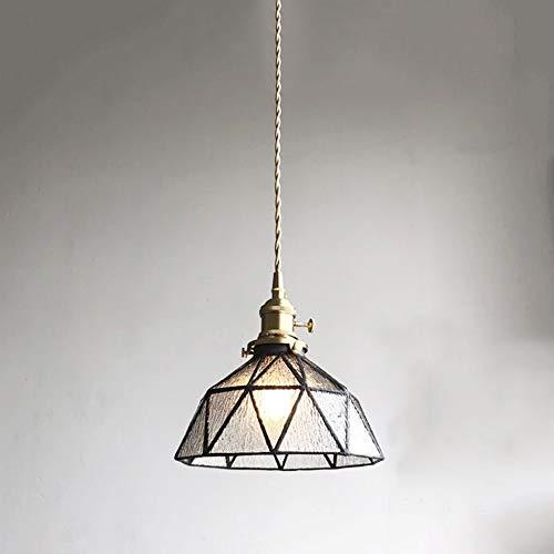 Retro colgante E27 ronda transparente ondulación del agua de la sala de estar de iluminación de vidrio, cobre, hierro lámpara de cabecera 1 de llama enciende la lámpara de mesa lámpara de
